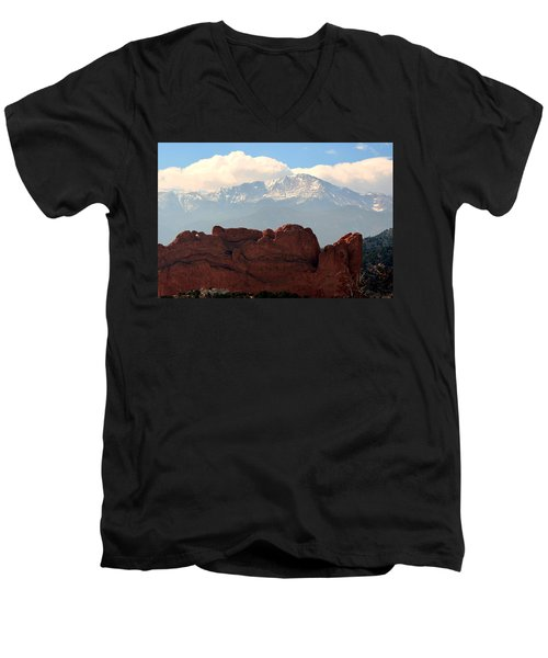 Kissing Camels Against Pikes Peak Men's V-Neck T-Shirt by Clarice  Lakota