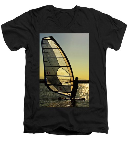 Men's V-Neck T-Shirt featuring the photograph Kiteboarder Sunset by Sonya Lang
