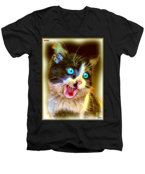 Men's V-Neck T-Shirt featuring the painting Kitten by Daniel Janda