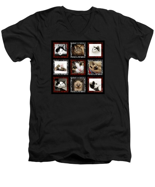 Men's V-Neck T-Shirt featuring the photograph Kitty Cat Tic Tac Toe by Andee Design