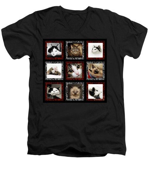 Kitty Cat Tic Tac Toe Men's V-Neck T-Shirt