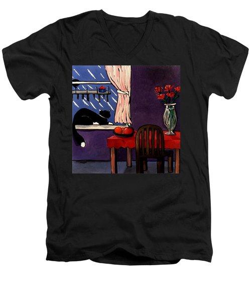 Kitty Over Manhattan Men's V-Neck T-Shirt by Lance Headlee