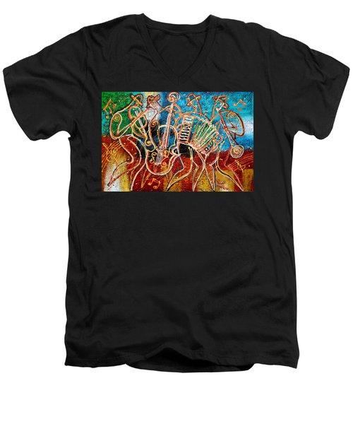 Klezmer Music Band Men's V-Neck T-Shirt by Leon Zernitsky
