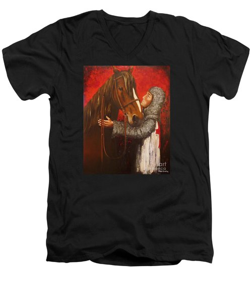 Knight And Horse Men's V-Neck T-Shirt
