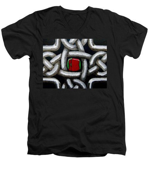 Knotwork With Gem Men's V-Neck T-Shirt