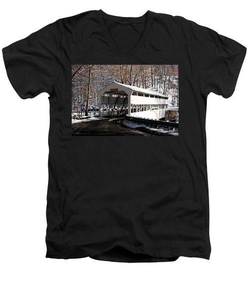 Knox Bridge In The Snow Men's V-Neck T-Shirt by Michael Porchik