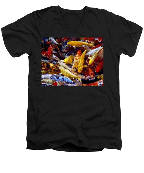 Men's V-Neck T-Shirt featuring the photograph Koi Pond by Marie Hicks