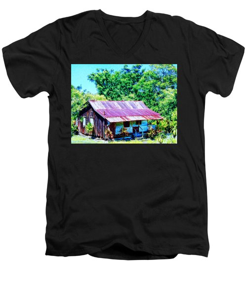 Kona Coffee Shack Men's V-Neck T-Shirt by Dominic Piperata