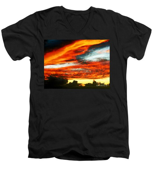 Men's V-Neck T-Shirt featuring the photograph Kona Sunset 77 Lava In The Sky  by David Lawson