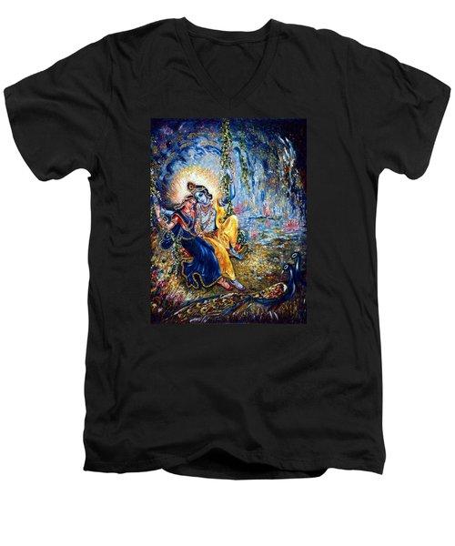 Krishna Leela Men's V-Neck T-Shirt by Harsh Malik
