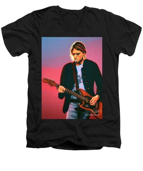 Kurt Cobain In Nirvana Painting Men's V-Neck T-Shirt