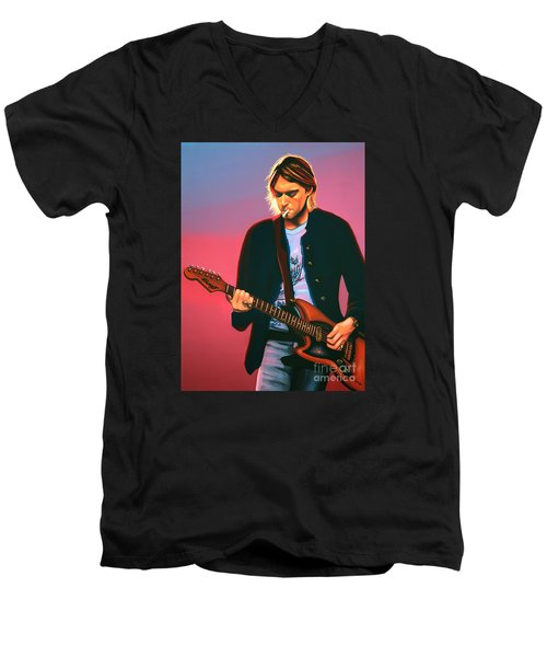 Kurt Cobain In Nirvana Painting Men's V-Neck T-Shirt