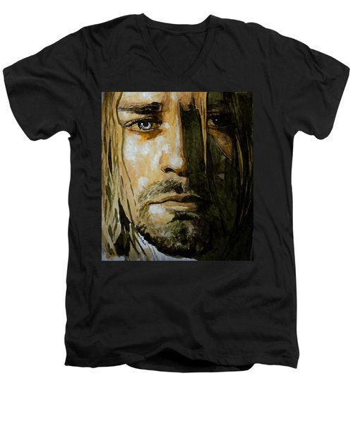 Men's V-Neck T-Shirt featuring the painting Kurt Cobain by Laur Iduc
