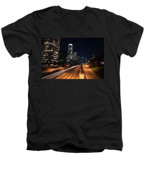 La Down Town Men's V-Neck T-Shirt by Gandz Photography