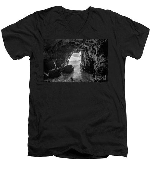 La Jolla Cave Bw Men's V-Neck T-Shirt by Michael Ver Sprill
