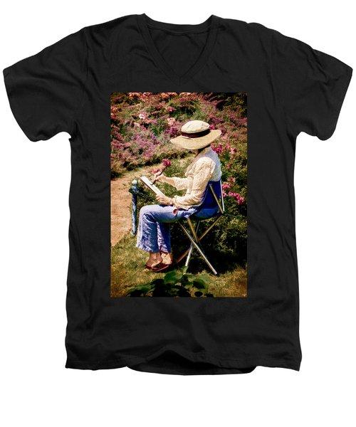 Men's V-Neck T-Shirt featuring the photograph La Peintre by Chris Lord