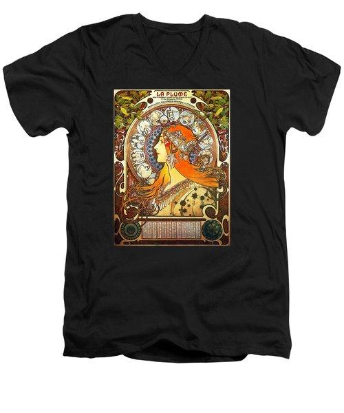 La Plume Zodiac Men's V-Neck T-Shirt by Alphonse Mucha