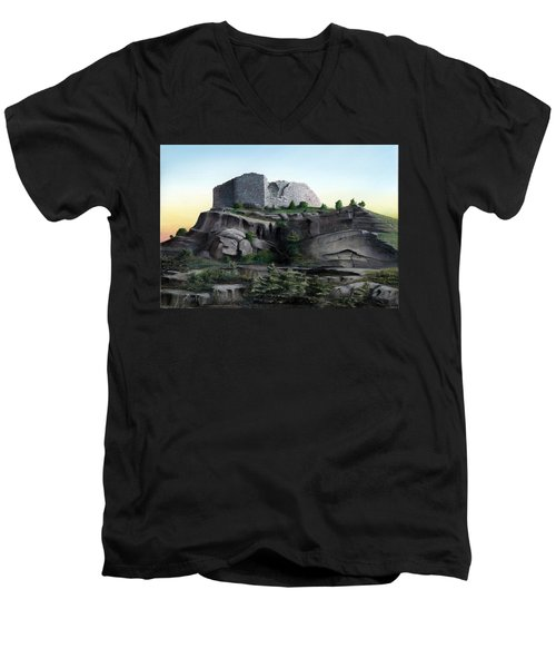 La Rocca De Monte Calvo Men's V-Neck T-Shirt by Albert Puskaric