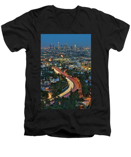 La Skyline Night Magic Hour Dusk Streaking Tail Lights Freeway Men's V-Neck T-Shirt