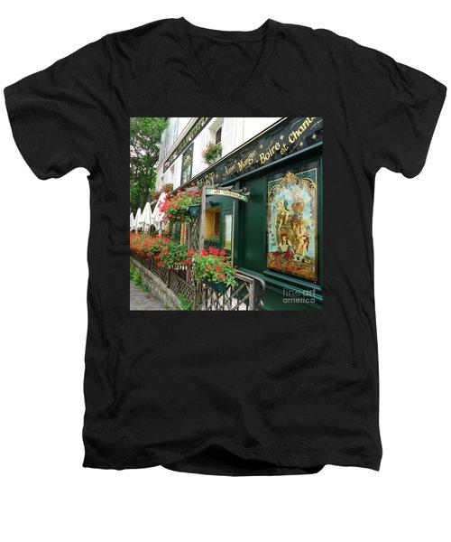 La Terrasse In Montmartre Men's V-Neck T-Shirt by Barbie Corbett-Newmin