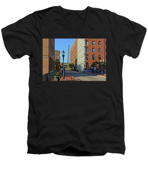 Laclede's Landing Just North Of The Arch Men's V-Neck T-Shirt by Greg Kluempers