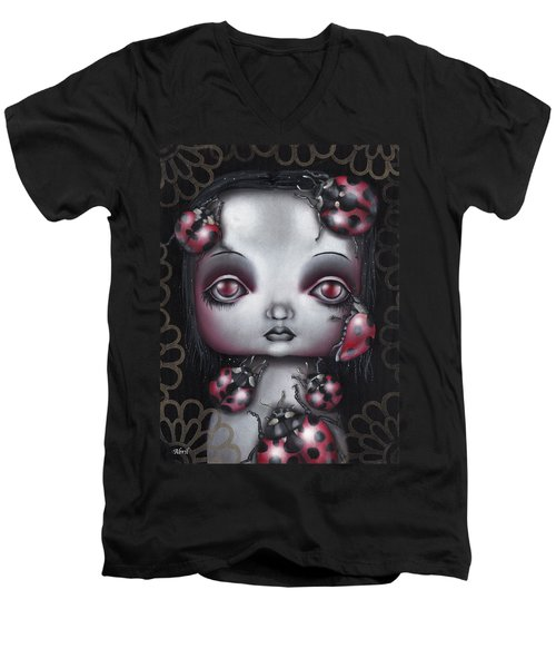 Lady Bug Girl Men's V-Neck T-Shirt by Abril Andrade Griffith