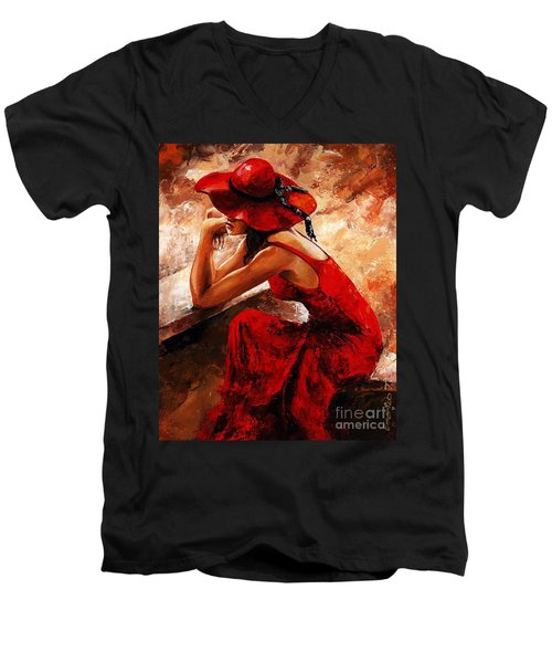 Lady In Red 21 Men's V-Neck T-Shirt by Emerico Imre Toth