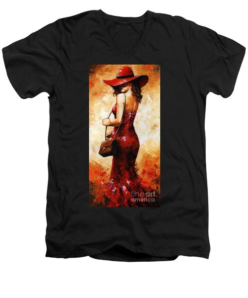 Lady In Red  30 Men's V-Neck T-Shirt by Emerico Imre Toth