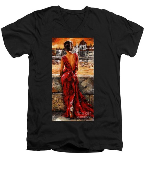 Lady In Red  34 -  I Love Budapest Men's V-Neck T-Shirt by Emerico Imre Toth