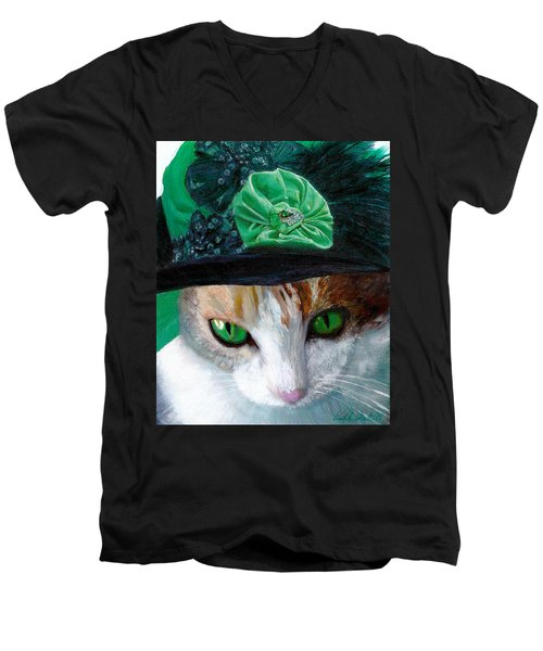 Lady Little Girl Cats In Hats Men's V-Neck T-Shirt by Michele Avanti