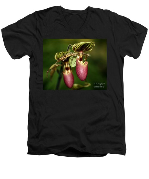 Lady Slipper Orchid Twins Men's V-Neck T-Shirt