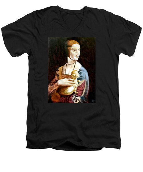 Men's V-Neck T-Shirt featuring the painting Lady With An Ermine by Henryk Gorecki