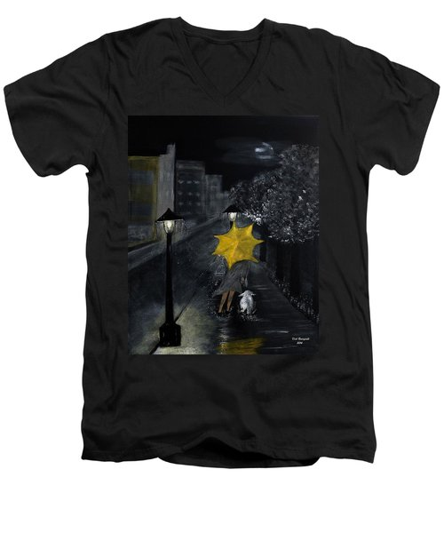Lady With Yellow Umbrella And White Dog Men's V-Neck T-Shirt