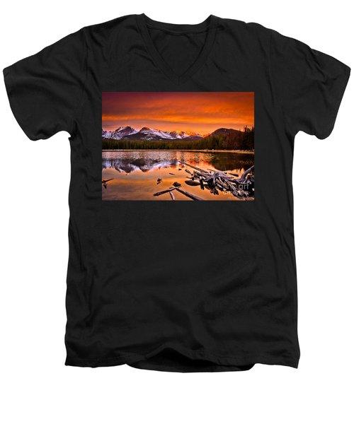 Lake Bierstadt In The Morn Men's V-Neck T-Shirt by Steven Reed