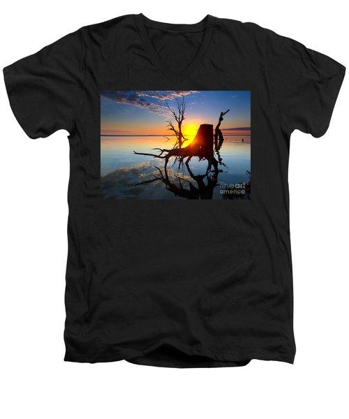 Lake Bonney Sunrise Men's V-Neck T-Shirt by Bill  Robinson