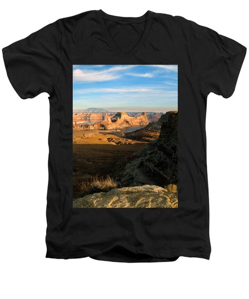 Men's V-Neck T-Shirt featuring the photograph Lake Powell From Alstrum Pt 02 by Jeff Brunton