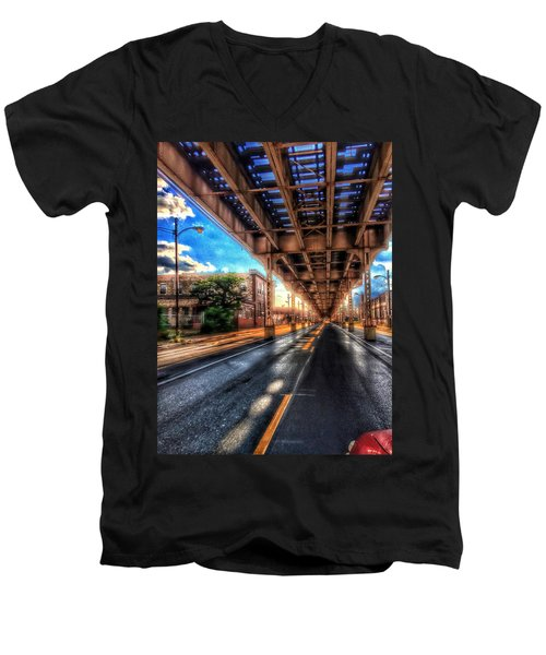 Lake Street El Tracks Men's V-Neck T-Shirt
