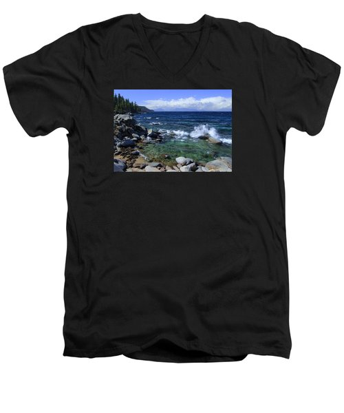 Men's V-Neck T-Shirt featuring the photograph Lake Tahoe Wild  by Sean Sarsfield