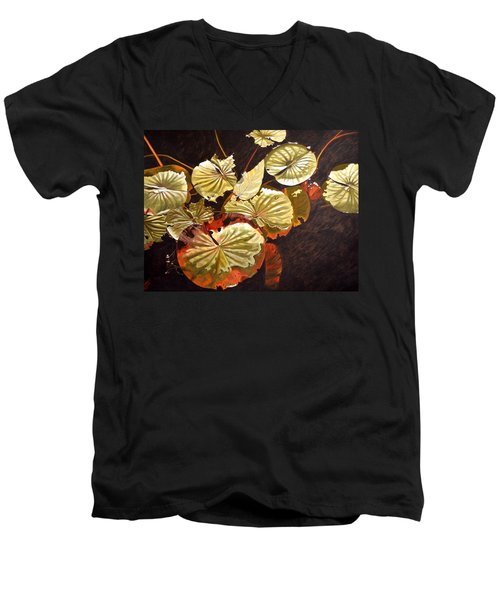 Lake Washington Lily Pad 11 Men's V-Neck T-Shirt by Thu Nguyen