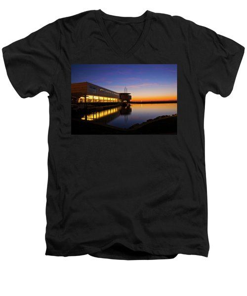 Men's V-Neck T-Shirt featuring the photograph Lakefront Sunrise by Jonah  Anderson