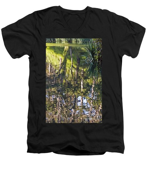 Men's V-Neck T-Shirt featuring the photograph Lakeshore Reflections by Kate Brown