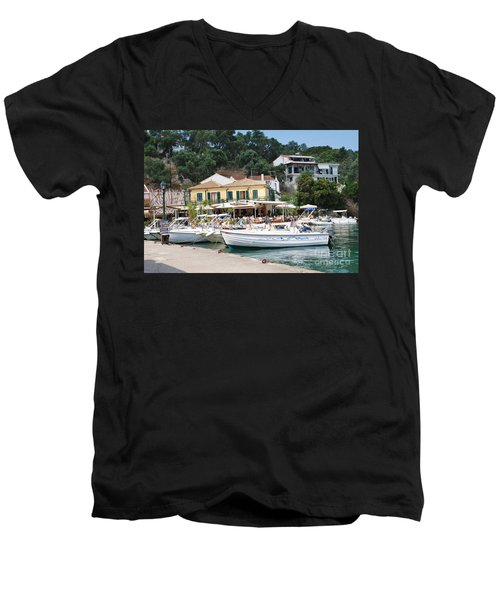 Lakka Harbour On Paxos Men's V-Neck T-Shirt
