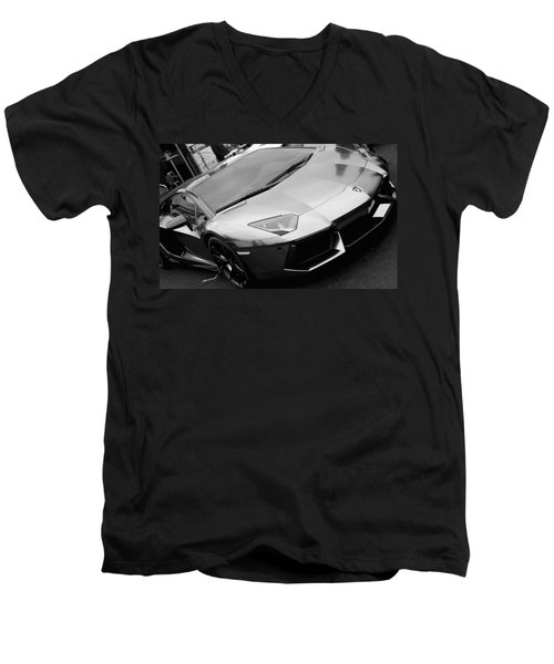 Black And White Shine Men's V-Neck T-Shirt
