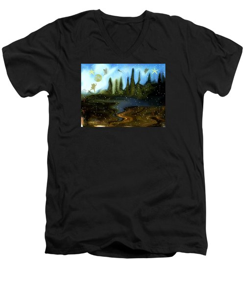 Men's V-Neck T-Shirt featuring the painting Land Of The Fairies  For Kids by Sherri  Of Palm Springs