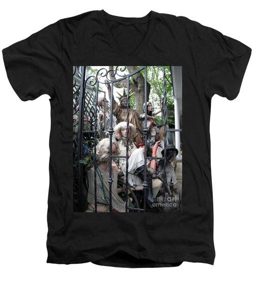 Land Of The Free  #2  Men's V-Neck T-Shirt by Susan Carella