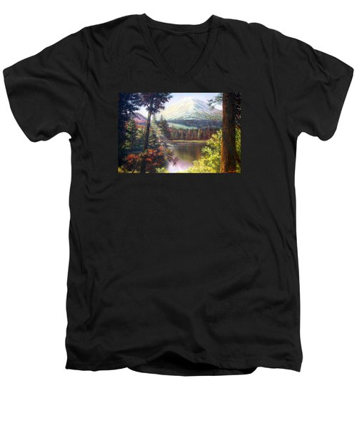 Landscape-lake And Trees Men's V-Neck T-Shirt by Loxi Sibley