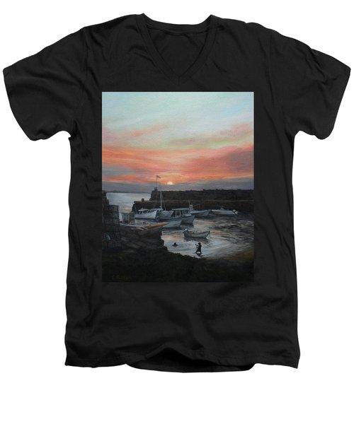 Lanes Cove Sunset Men's V-Neck T-Shirt by Eileen Patten Oliver
