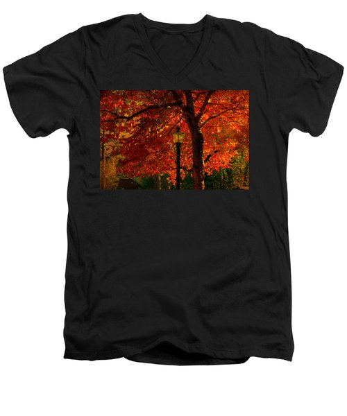 Lantern In Autumn Men's V-Neck T-Shirt