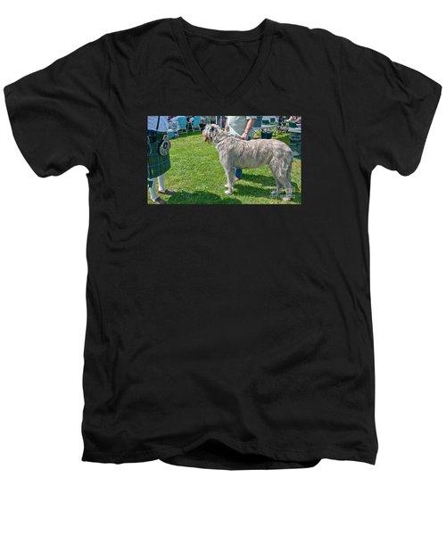 Large Irish Wolfhound Dog  Men's V-Neck T-Shirt by Valerie Garner