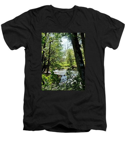 Men's V-Neck T-Shirt featuring the photograph Larwood Stream by VLee Watson